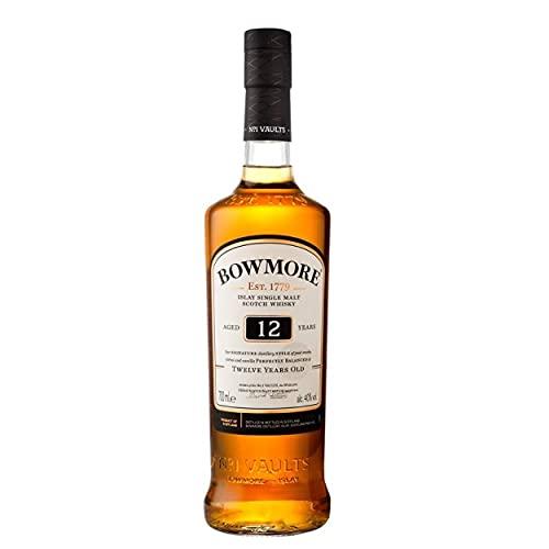 Bowmore 12 Jahre Single Malt Scotch Whisky, mit Geschenkverpackung, ausgewogen mit rauchigen...