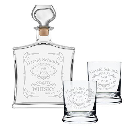 polar-effekt 3-TLG Geschenk-Set mit Whiskeyflasche und 2 Leonardo Whiskygläser - Edle Glas-Karaffe...