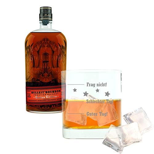 Whiskey 2er Set, Bulleit Bourbon Frontier Whiskey Tattoo, Whisky, Alkohol, Alkoholgetränk, Flasche,...