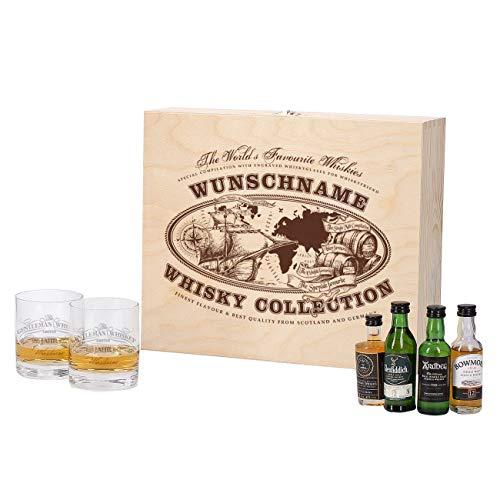 Herz & Heim® Whisky Geschenkset mit 4 Miniaturversion und gravierten Whisky-Gläsern in gravierter...