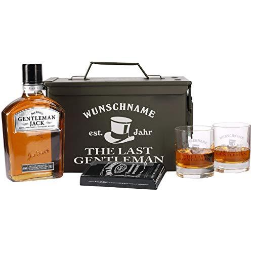 Herz & Heim® 5-tlg Whiskey Set 2 Gläsern mit Gravur, Gentleman Jack + Orginal Munitionskiste mit...
