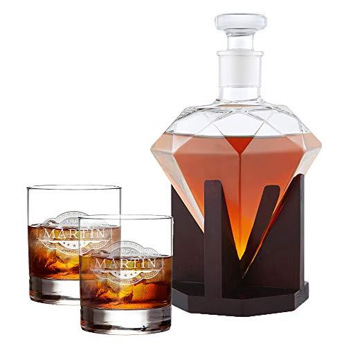 AMAVEL Whiskyset mit Diamantkaraffe und 2 Whiskygläsern mit Gravur – Personalisiert mit Namen und...