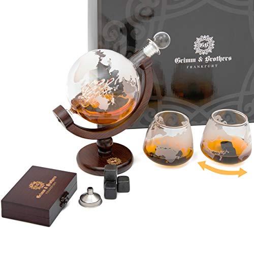 Grimm & Brothers: Whiskey Karaffe 850ml- 2 Whisky Gläser- 9 Whiskey Steine- Whiskey Geschenk-...