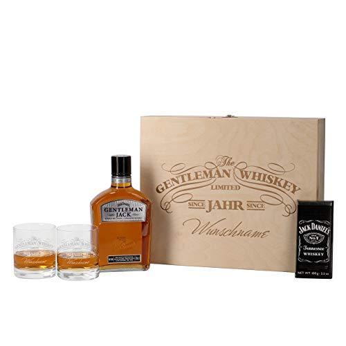 Herz & Heim® 5-tlg Whiskey Set 2 Gläsern mit Gravur, Jack Daniels Schweizer Schokolade, Gentleman...