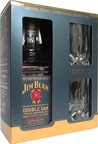 Jim Beam Double Oak Kentucky Straight Bourbon Whiskey Geschenkset mit 2 Tumbler Whiskeygläsern, 43%...