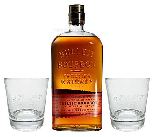Bulleit Bourbon Frontier Whiskey 0,75l (45% Vol) + 2x Gläser Glas Set- [Enthält Sulfite]
