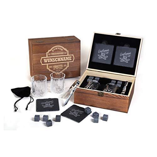 FORYOU24 Genießer Whisky Geschenk Box aus Holz mit Gravur des Namens I 2 Whiskeygläser I 2...