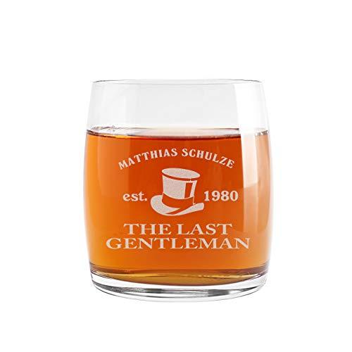 Herz & Heim® Whiskeyglas (Bohemia) mit kostenloser Gravur - Last Gentleman - tolle Geschenkidee...