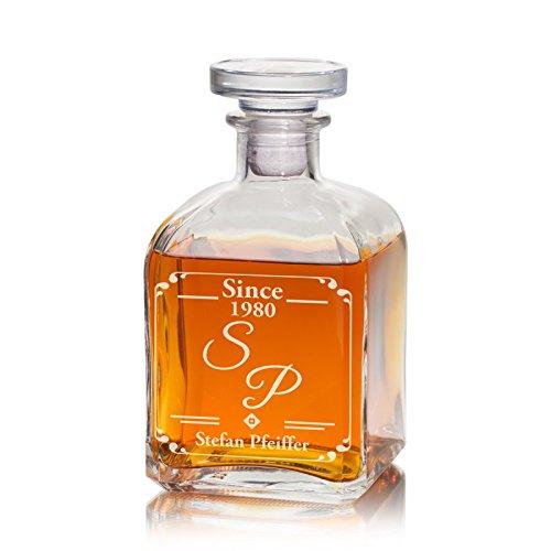 Geschenke 24 Whiskykaraffe (Edel) mit Initialen - gravierte Whiskykaraffe Karaffe Dekanter mit...