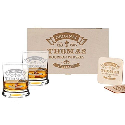 polar-effekt 5-TLG Whisky Geschenk-Set - 2 Leonardo Whiskygläser, 2 Untersetzer in Holzbox -...