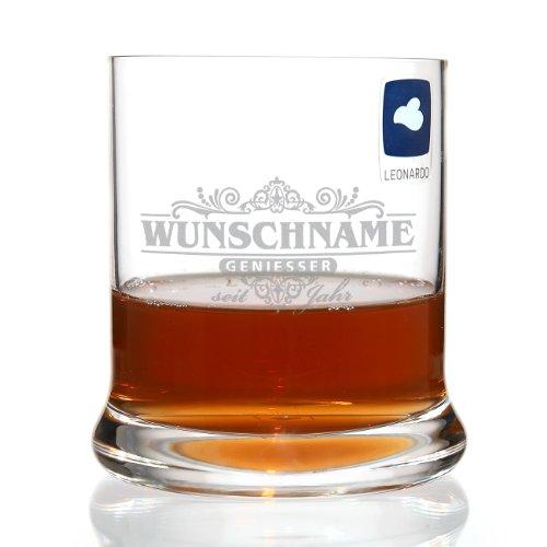 Leonardo Whisky Glas - Motiv: Geniesser limited - mit kostenloser Gravur des Namens + Geburtsjahr
