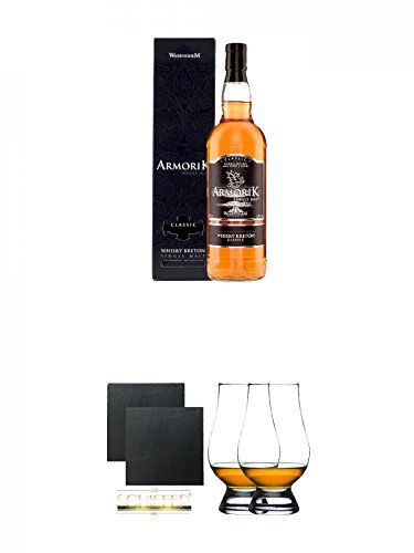 Armorik Classic Single Malt de Bretagne 0,7 Liter + Schiefer Glasuntersetzer eckig ca. 9,5 cm Ø 2...