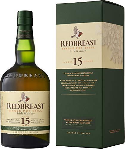 Redbreast 15 Jahre Single Pot Still Irish Whiskey – Kraftvolle Whiskey-Komposition aus Irland –...