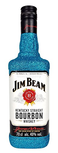 Jim Beam Bourbon Whiskey 0,7l 700ml (40% Vol) Bling Bling Glitzerflasche in blau -[Enthält Sulfite]