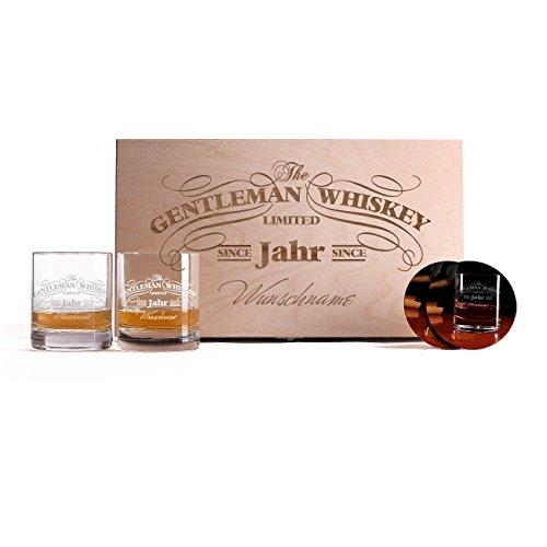 Privatglas 2 Gravierte Whiskygläser mit bedruckten Untersetzern in einzigartiger Geschenkbox zum...