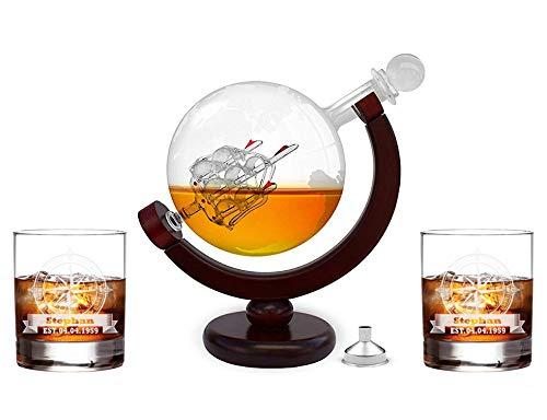 FORYOU24 Whiskeykaraffe im Globus Design + 2 Whiskygläser mit Gravur - Weltkugel Dekanter aus Glas...