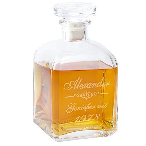 Geschenke 24: Whiskykaraffe Edel mit Gravur - personalisierte Whisky-Geschenke für Männer Papa von...