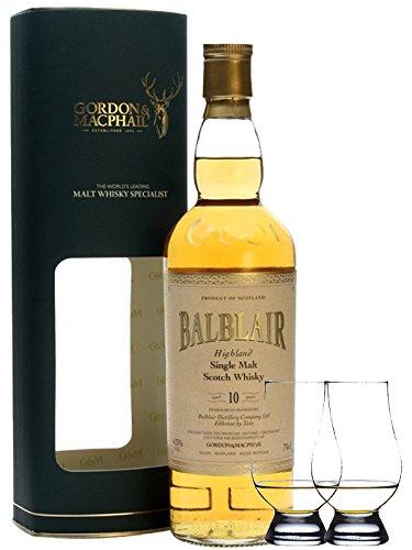 Balblair 10 Jahre Single Malt Whisky Gordon & MacPhail 0,7 Liter + 2 Glencairn Gläser