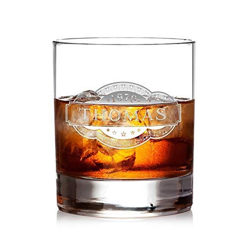AMAVEL Whiskyglas mit Gravur Banderole, Personalisiert mit Name und Jahreszahl, Tumbler,...