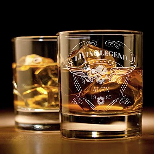 Whiskyglas mit Gravur ( Totenkopf )   Whiskey-Glas mit massivem Boden personalisierbar mit Namen und...