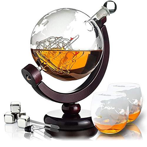 Whisiskey® Whisky Karaffe - Globus - Whiskey Karaffe Set - 900 ml - Geschenke für Männer - Inkl....
