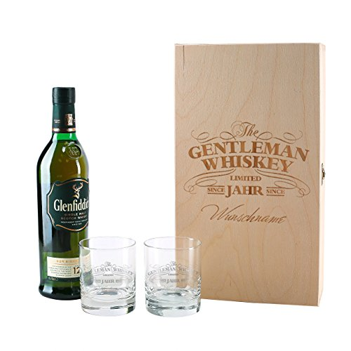 Herz & Heim® Glenfiddich Whisky Geschenkset mit Gratis Gravur 2er Whiskey Gläser in gravierter...