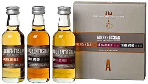 Auchentoshan Whisky Geschenkset mit American Oak,Three Wood, 12 Years Old 3 x 0,05l, (3er Pack)