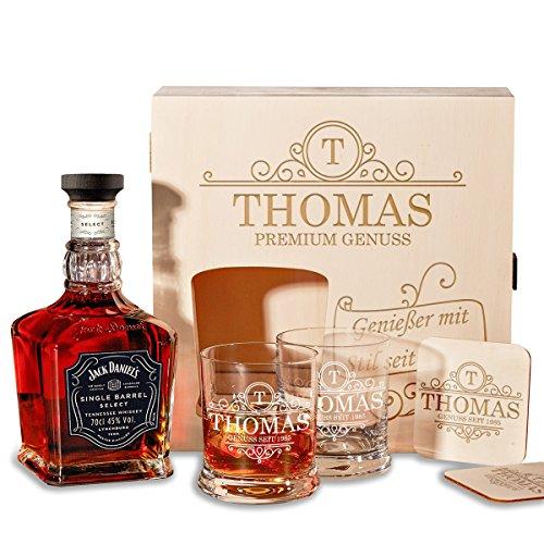 polar-effekt Holzkiste Personalisiert mit Gravur - mit Jack Daniel's Single Barrel Tennessee Whiskey...