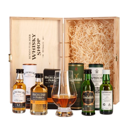 Schottischer Whisky Shop Whisky Genießer Set (4 x 0.05 l) + 1 x Glencairn Whiskyglas