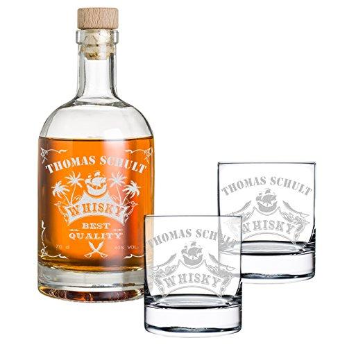 polar-effekt 3-TLG Geschenk-Set mit Gravur - Whiskyflasche und 2 Whiskygläser - Glas-Karaffe...