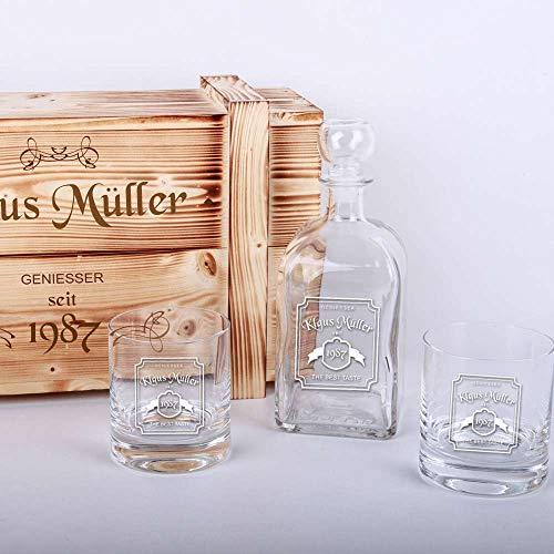 Whisky-Geschenkset in Holzkiste mit Gratis-Gravur - 2 Whiskygläser + Whiskyflasche + Gravur als...