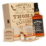 polar-effekt Whisky Geschenk-Set mit Gravur 6-TLG, Jack Daniels No.7, Whisky-Geschenkbox, 2...