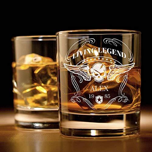 Smyla Whiskyglas mit Gravur (Totenkopf-Design)   Whiskey-Glas mit massivem Boden personalisierbar...