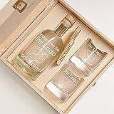 polar-effekt 6-TLG Geschenk-Set in Holzkiste - 2 Gläser, 2 Untersetzer und Whisky-Karaffe in...