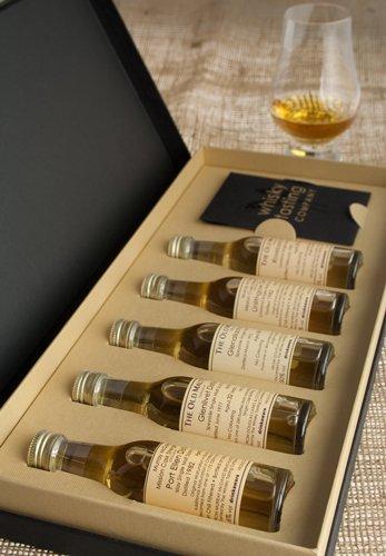 Probierset mit Whiskys aus den Regionen Schottlands – 5 x 30 ml Malt-Whiskys, mit Glencairn...