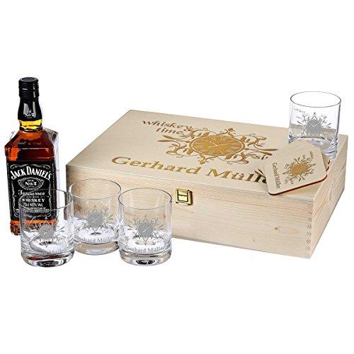 polar-effekt 10-TLG Whisky Geschenk-Set mit Jack Daniels No.7-4 Gläser, 4 Untersetzer und...
