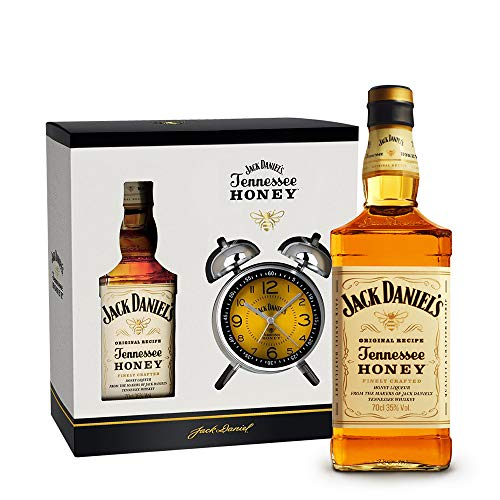 Jack Daniel's Honey Set mit Wecker/Doppelglockenwecker Retro Design (1 x 0,7 Liter)