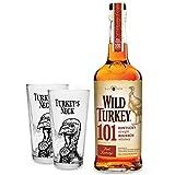 Wild Turkey 101 Kentucky Straight Bourbon Whiskey 0,7l 700ml (50,5% Vol) + 2x Gläser 2/4cl geeicht...