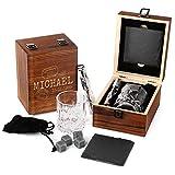 FORYOU24 Personalisierte Whisky-Geschenk-Box aus Holz mit Gravur des Namens M04 - Trip - Whiskeyglas...