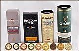 Set'Travel of Scotch Whisky' - 4 schottische Single Malt Whisky Miniaturen & 9 Edel Schokoladen,...