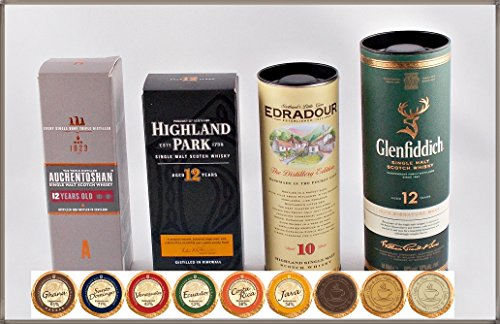 Set'Travel of Scotch Whisky' - 4 schottische Single Malt Whisky Miniaturen & 9 Edel Schokoladen,...